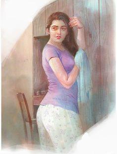 Indian Women Painting, Indian Art Paintings, Sexy Painting, Woman Painting, Beautiful Girl Indian, Beautiful Girl Image, Beautiful Suit, Indian Art Gallery, Dehati Girl Photo