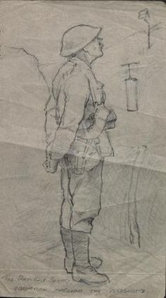 The Day-Time Sentry Observing Through The Periscope Ww1 Art, Art Inspiration Drawing, Day And Time, First World, Painting & Drawing, Trench, War, History, Drawings