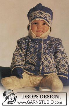 DROPS Nordisk sæt i Baby Merino med stjerner: jakke, buks, hue og vanter ~ DROPS Design http://www.garnstudio.com/lang/dk/visoppskrift.php?d_nr=b3&d_id=11&lang=dk