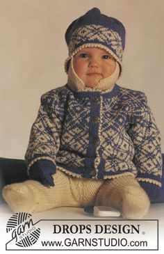 "DROPS jacket with Norwegian pattern, pants, hat and mittens in ""Baby Merino"". ~ DROPS Design"
