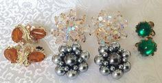Lot of 4 Pair Mid Century Earrings Crystal Aurora Borealis Cluster Bead