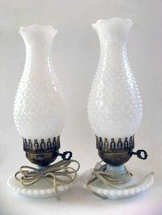 vintage hurricane lamps | Vintage Milk Glass Hurricane Lamp