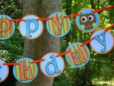 Hooty Owl Birthday Banner MADE TO ORDER by paperpeddler on Etsy, $35.00
