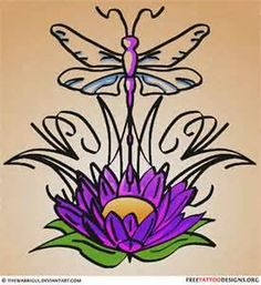 Dragonfly And Lotus Tattoo Design
