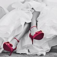 White Dress with Colored Shoes