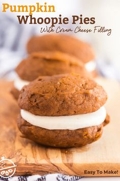 Pumpkin Whoopie Pies made of soft pumpkin spiced cookies filled with fluffy and luscious cream cheese filling. These irresistible cake-like cookies are the perfect fun handheld treat for fall season! #lemonblossoms #fallflavors #cookies #easyrecipe #Thanksgiving #sponsored Pumpkin Recipes, Fall Recipes, Holiday Recipes, Yummy Recipes, Pumpkin Whoopie Pies, Pumpkin Spice Cookies, Easy No Bake Desserts, Delicious Desserts, Keto Desserts