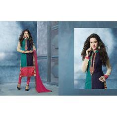 Viva N Diva Green & Blue Color Cambric #CottonSuit #onlineshopping http://goo.gl/jeU9zl