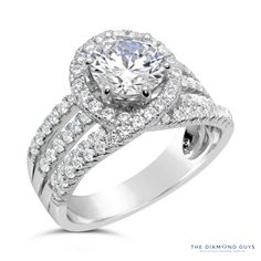 Diamond Halo Engagement Ring Setting - The Diamond Guys Collection Center Diamond Cut: Round Cut  Side Diamonds: 86 (weight = 1.05ct)