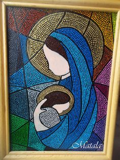 Glass picture  Dot art Mother & baby Dot painting by DotslandUA