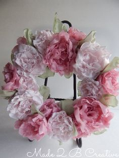 DIY Fabric Flower Peony Wreath