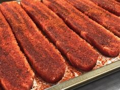 Smoked and Seared Pork Belly Slices - Smoking Meat Newsletter Sliced Pork Belly Recipe, Pork Belly Slices, Pork Belly Recipes, Pork Belly Strips, Pork Belly Burnt Ends, Pellet Grill Recipes, Smoker Recipes, Grilling Recipes, Steak Dinner Sides