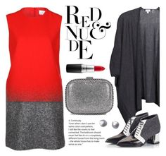 """""""#ootd Color Combo Red & Grey"""" by cstarzforhome ❤ liked on Polyvore featuring Victoria, Victoria Beckham, Kinross, Alberto Guardiani, MAC Cosmetics, STELLA McCARTNEY and Kenneth Jay Lane"""