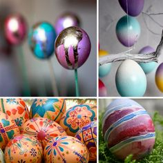 Easter eggs! I love doing stuff like this with the kiddos. Not all the techniques are kid friendly, but there are lots to choose from outside from the plain dye kits at the store.