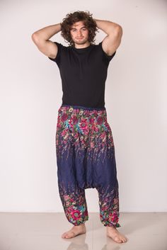 Amazingly soft Floral Low-Cut Men's Harem Pants in Blue.Cotton/Rayon Blend. Free International Shipping on Orders over $60 at HaremPants.com Sizing: One size fits most. Approx. Measurements: - Waist: