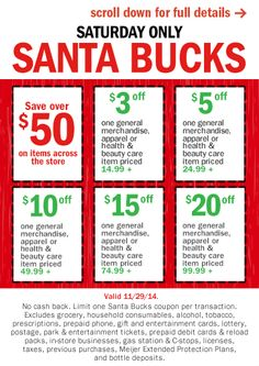 #SantaBucks for #Meijer! Valid Saturday only 11.29.14