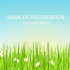 Nice illustrated PowerPoint template with green grass and daisies. Use this theme for presentations on spring, gardening, outdoors activities, nature, etc. Powerpoint Template Free, Company Names, Amazing Nature, Outdoor Activities, Presentation, Templates, Sunflowers, Spring, Sample Resume