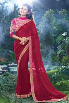 Pink Georgette Saree Andaaz Fashion new arrival collection like Pink Georgette Saree. Embellished with Embroidered,Resham,Stone,Zari, Heavy Pallu, Round Neck Blouse, Sleeveless Blouse. This collection is perfect for Party,Wedding,Festival,Ceremonial.