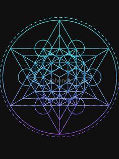 'Sacred Geometry Teal Metatron' T-Shirt by johnnet Sacred Geometry Meanings, Sacred Geometry Patterns, Fractal Geometry, Sacred Geometry Art, Spiritual Symbols, Spiritual Wisdom, Sigil, Fibonacci Golden Ratio, Fuzz