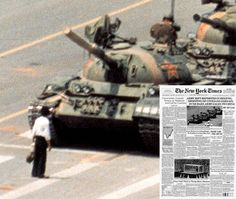Tiananmen Square. Solitary man faces an oncoming armed tank. June 05, 1989.  Army rift reported in Beijing which led to the shooting of civilians as the world watched in horror!