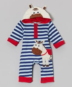 Look at this Baby Essentials Blue Stripe Horse Hooded Playsuit on #zulily today!
