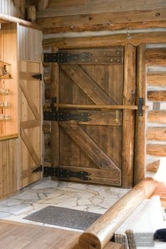 log-home--front-door-with-bar- I would Love a second home,Ranch style ;) ;) ;)