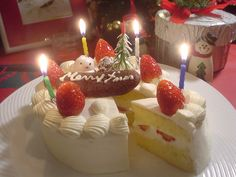 Japanese Christmas Cake - the candles are for Baby Jesus's birthday! :)