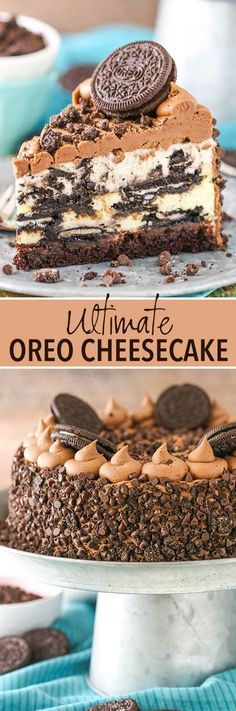This Ultimate Oreo Cheesecake: Oreo mousse, Oreo cheesecake, chocolate ganache and brownie - all covered in chocolate frosting and crushed Oreos! A copycat of The Cheesecake Factory's Oreo Dream Extreme cheesecake. Chocolate Desserts, Fun Desserts, Delicious Desserts, Dessert Recipes, Chocolate Frosting, Oreo Frosting, Chocolate Oreo, Baking Chocolate, Melted Chocolate