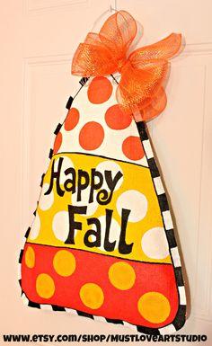 Fall Autumn Candy Corn Burlap Door Hanger by MustLoveArtStudio, $35.00