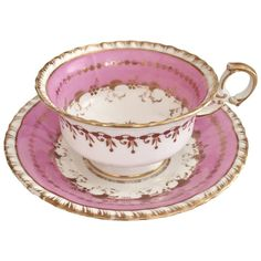 Antique Minton teacup and saucer, overglaze pink on K-shape, 1825-1830 - Late Regency period pink & white w/ gold tea cup & saucer