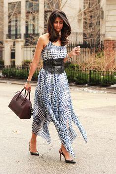 Sage Threads Co. Dress, Givenchy Antigone bag, Christian Louboutin Slingback pumps, Prada Corset belt, Tiffany & Co Bone Cuff bracelet