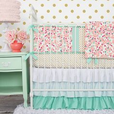 Going for a sweet nursery look with a little flair? We think our Mint & Mini Floral Baby Bedding would be perfect in your baby girl's nursery