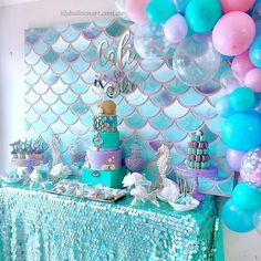 Cali's Mermaid Birthday 🧜🏼‍♀🧜🏼‍♀🧜🏼‍♀ ♥♥ Balloons Event Styling & cake by Macarons by Cake Table Birthday, Mermaid Birthday Cakes, Little Mermaid Birthday, Little Mermaid Parties, Birthday Party Themes, 5th Birthday, Birthday Ideas, Mermaid Balloons, Mermaid Baby Showers