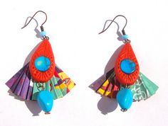 recycled magazine paper and polymer clay earrings from http://marysmerryland.blogspot.gr