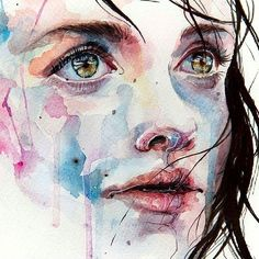 By Agnes Cecile painter. #watercolor #young #woman #youngwoman #beautifulwoman #eyes #nose #lips #hair #paletadecolores #picoftheday #contemporanea #watercolor #acuarela #amazingpicture#artlovers #artgallery #oleo #oiloncanvas #figurativo