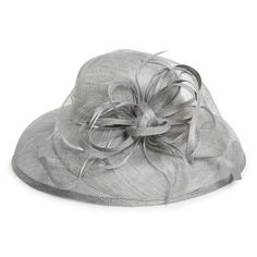 August Hat Feathered Downbrim Hat ($138) ❤ liked on Polyvore featuring accessories, hats, grey, august hat, grey hat, straw hat, feather hat and gray hat