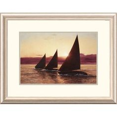Global Gallery 'Coastal Evening Sail' by Diane Romanello Framed Graphic Art Size: 2