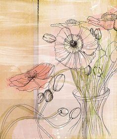 poppies. via  Mindy Arledge.  I like this piece! Reminds me of when my life was so crammed with the color and texture of experience the only way I could find relief was to draw with my rapidiograph pens -- on white strathmore resting the mind only on black and white. The soft wash of color here is lovely!