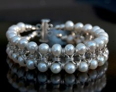 Pearl chainmaille sterling silver 2 strand