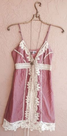 Romantic pink dress with battenberg lace details