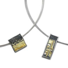 ORRO Contemporary Jewellery Glasgow - Gill Galloway Whitehead - Small Square & Oblong Pendant Necklace - Sterling silver - Gold detail