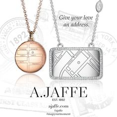 Engrave your own unique #mapnecklace and let a diamond designate a specific place on the globe that holds a special place in your heart. New styles coming soon! ajaffe.com #mapyourmoment #ajaffe #personalizedjewelry