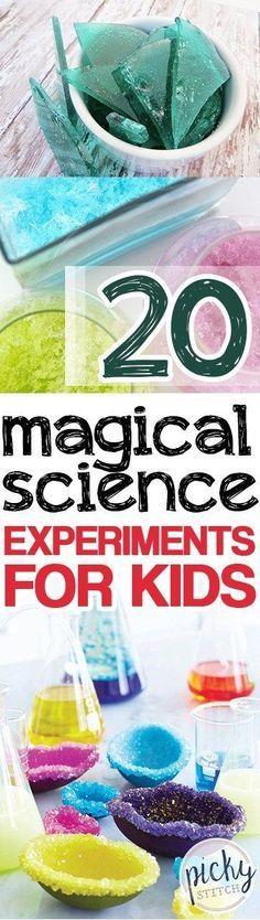 20 Magical Science Experiments for Kids // 20 experimentos mágicos de ciencias para niños #stem #science #magic #iloveit #kids