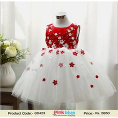 elegant red princess baby girl special occasion dress with stylish bodice