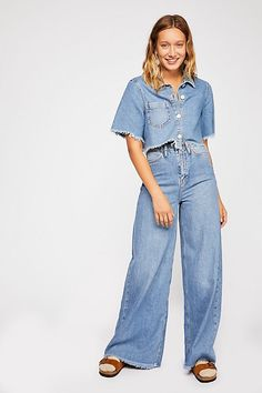 d23783b8aede Dust In The Wind Set - Denim Short Sleeve and Jeans Set - Wide Leg Jeans