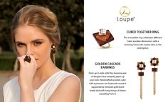Cubed together ring and Golden cascade earrings #Loupe #Accessories #Fashion #Luxury #LoveTheLook #AccessoriesThatBringSmile #Cubique #Ring #Earrings