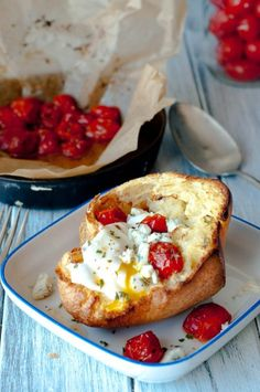 Popover with Poached Egg, Roasted Tomatoes and Gorgonzola » Yum, I would use a different cheese though.