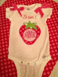 "Strawberry appliqué on a onesie! ""I am one"""