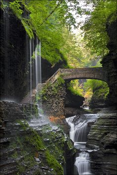 Waterfall Bridge, Watkins Glen, New York.
