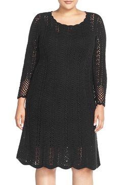 London Times Crochet A-Line Dress (Plus Size)