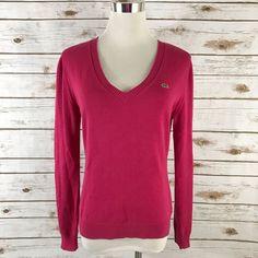 Women's LACOSTE V Neck Sweater 100% Cotton PINK Size 38 = Size 6 SMALL EUC  | eBay